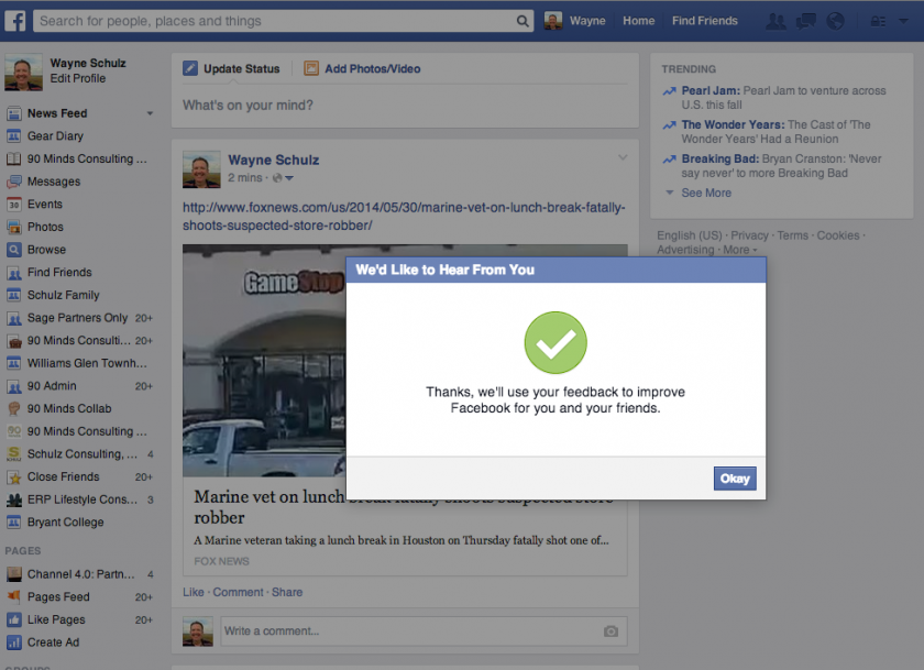 Facebook Querying Whether You Think Your Post Will Get You Reported