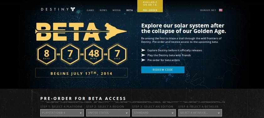 Destiny Beta Releasing on PlayStation 3 and 4 on July 17, 2014