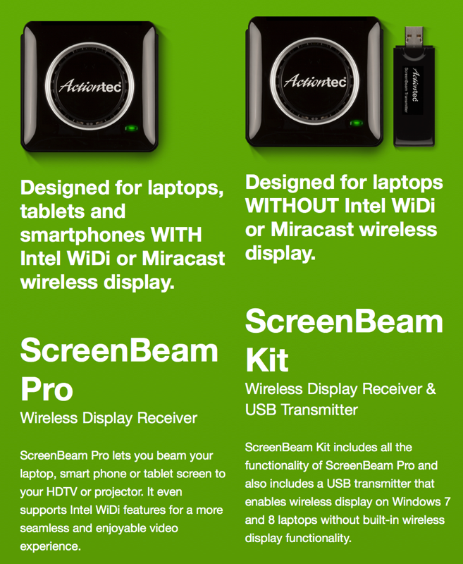 Actiontec ScreenBeam Pro Wireless Display Receiver and