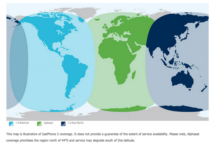 IsatPhone2 coverage map