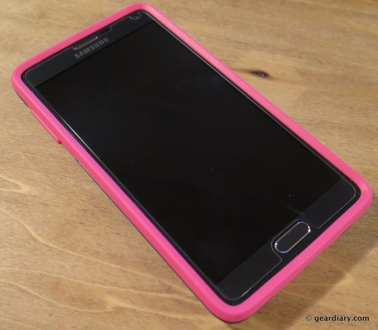 Otterbox Symmetry for Samsung Galaxy Note 4 Case is shown on a black AT&T Version of the Samsung Galaxy Note 4