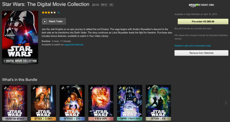 GearDiary Star Wars the Digital Collection Comes to iTunes and Amazon April 10th!