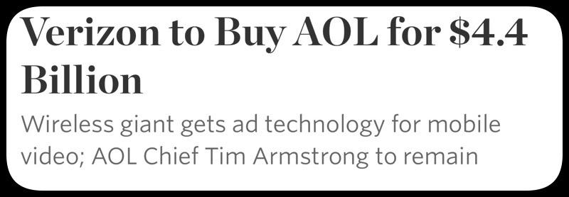 GearDiary Verizon Communications Inc. Buying AOL Inc for 4.4 Billion in Cash