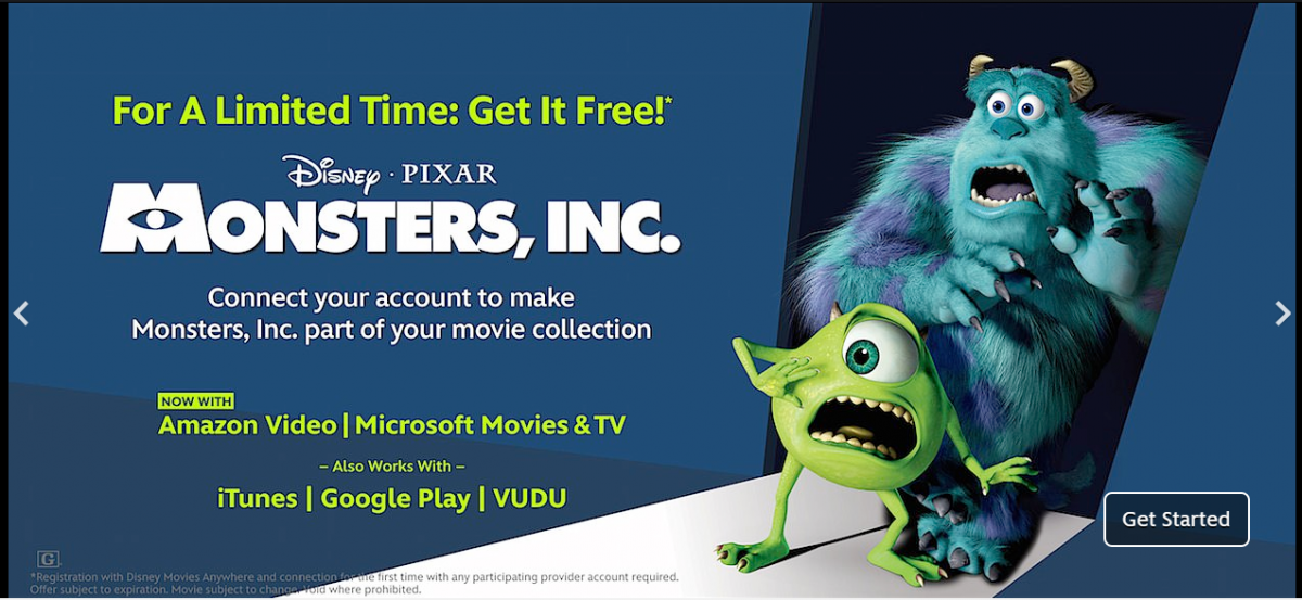 Link Your Amazon, iTunes or Vudu Account to Disney Movies Anywhere and Get Monsters, Inc for FREE!