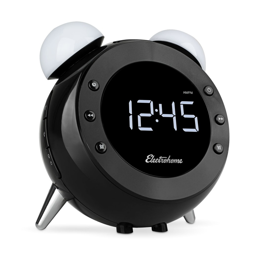 the electrohome retro alarm clock radio shines on my night table geardiary. Black Bedroom Furniture Sets. Home Design Ideas