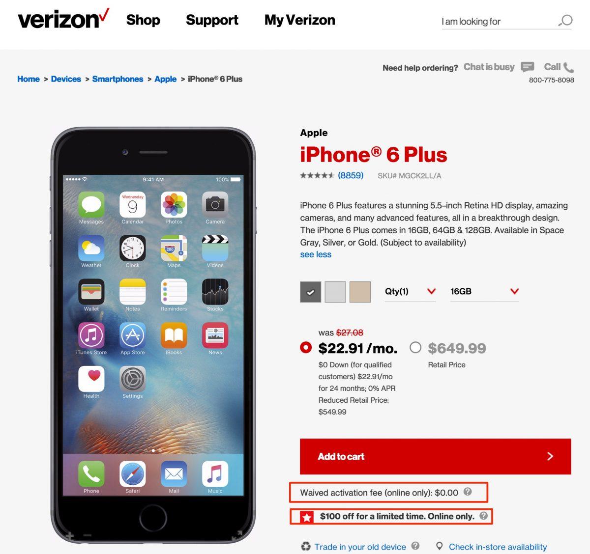 Verizon Memorial Day Online Sale: Take $100 Off IPhone 6