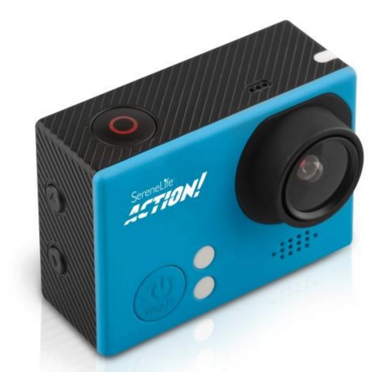 Pyle's Compact ACTION! 4K Ultra HD WiFi Camera, 1080p+ Sports Action Camera + Camcorder in blue 1