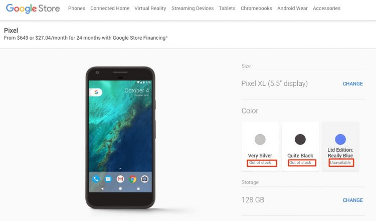 GearDiary Google Pixel XL 128 GB Smartphone Goes Out of Stock Less Than 24 Hours After Unveiling