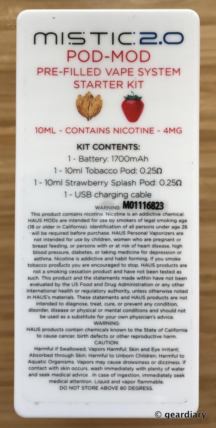 Mistic 2 0 POD-MOD Pre-filled Vape System Starter Kit Review