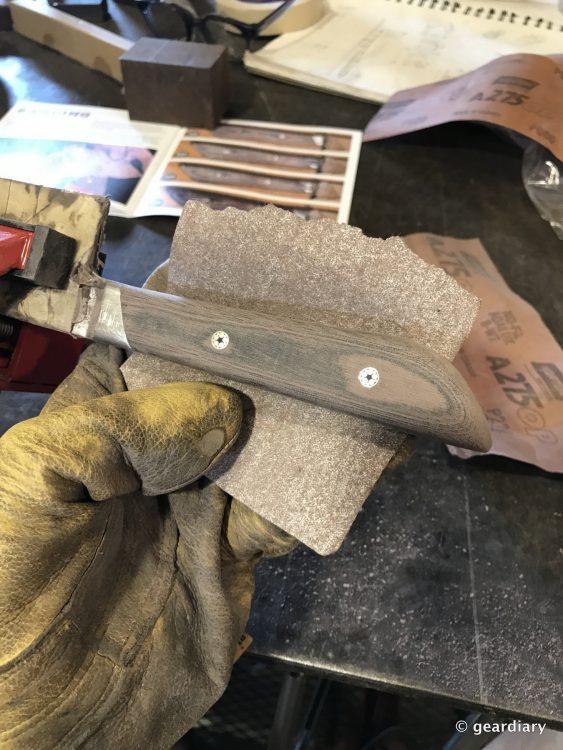 GearDiary 14-Finishing the Man Crates Damascus Chef Knife-013