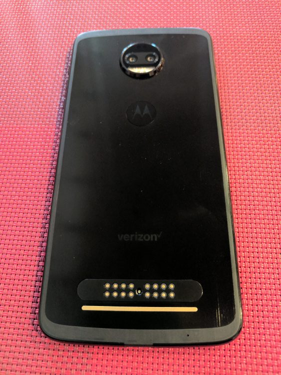 Back of the Moto Z2 Force