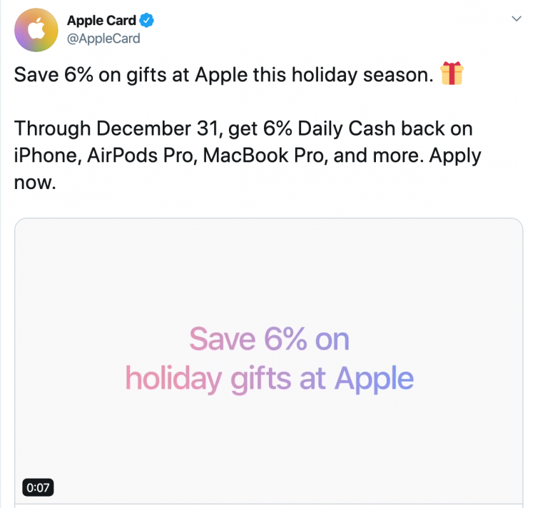 Apple Announces 6% Cash Back on Apple Purchases Through 12/31/2019