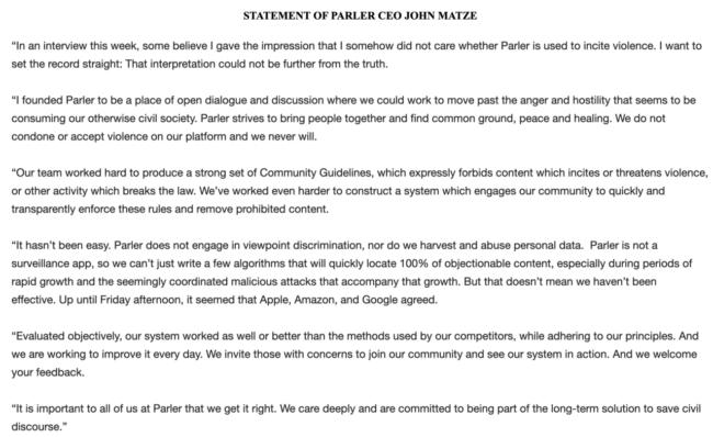 Statement of Parler CEO John Matze