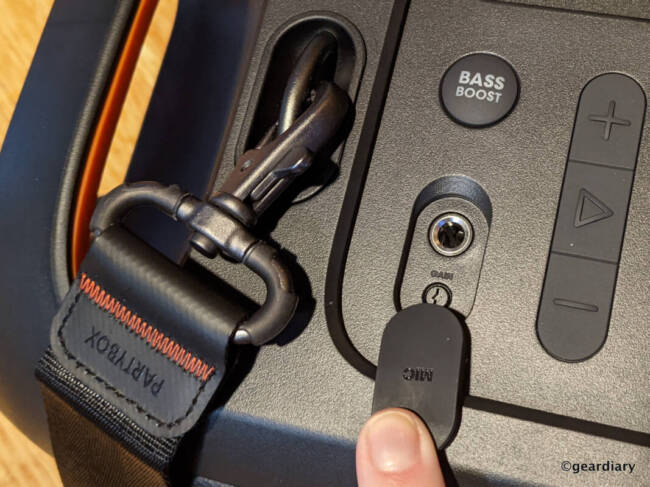 Mic socket and mic gain on JBL PartyBox On-The-Go